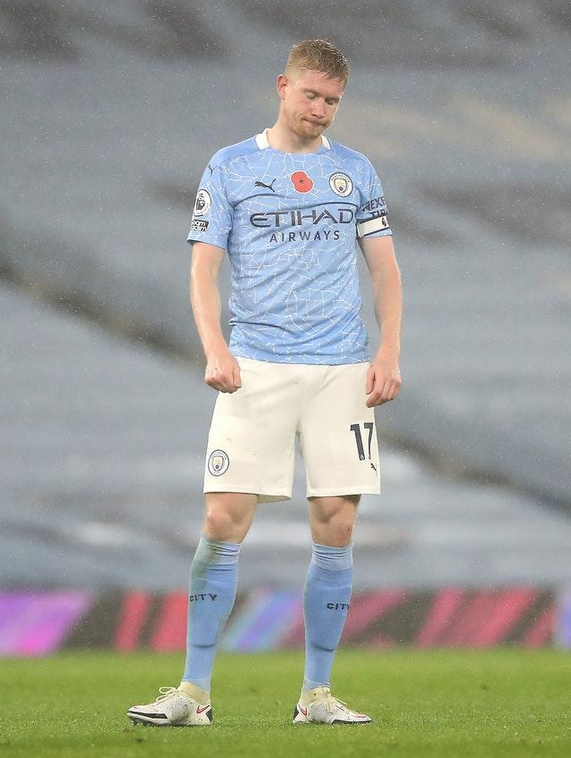 Kevin De Bruyne missed the chance to put City ahead from the penalty spot