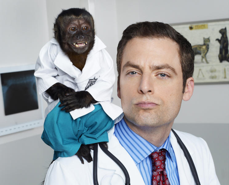 """This image released by NBC shows Justin Kirk as Dr. George Coleman from the NBC comedy """"Animal Practice."""" The series, which premiered last fall, was canceled by the network. (AP Photo/NBC, Chris Haston)"""