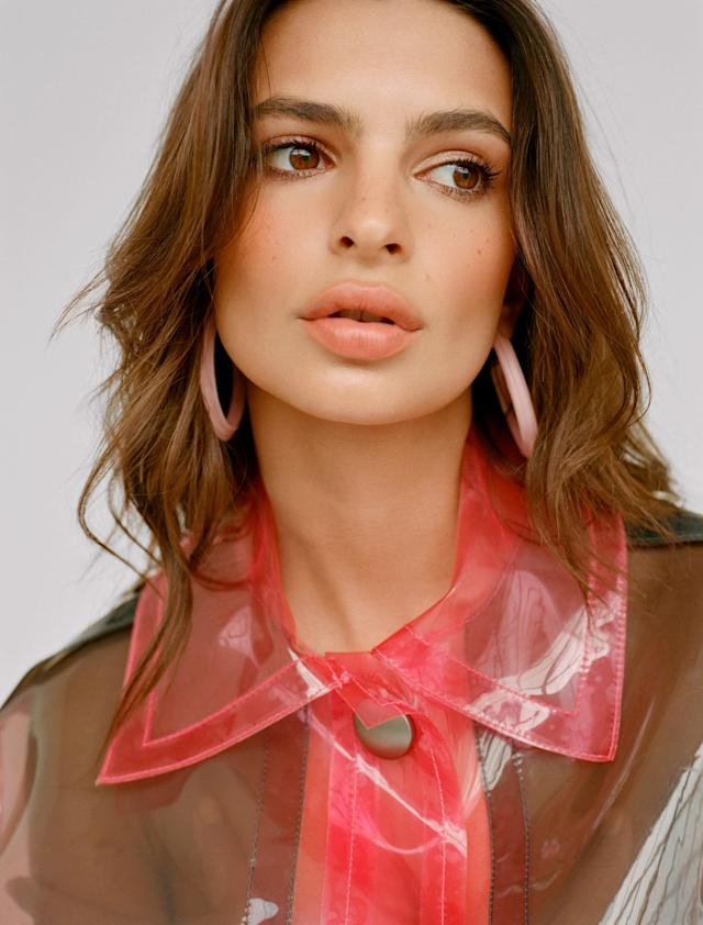 <p>Emily Ratajkowski wears the baby-pink jelly hoop earrings by Alison Lou for the designer's first campaign for Loucite by Alison Lou. (Photo: Jacqueline Harriet / courtesy of Alison Lou) </p>