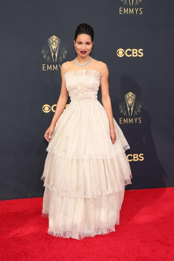 Jurnee Smollett on the red carpet in a light pink gown