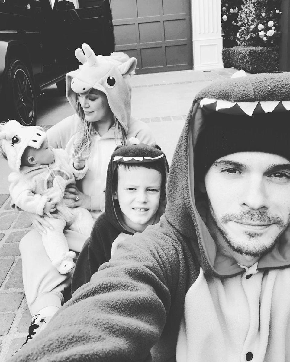 """<p>It's girls against boys! Or should we say unicorns against dinosaurs? In May 2019, Duff and Banks dressed as unicorns, while Luca and Koma donned dinosaur onesies. </p> <p>""""2 🦖's + 2 🦄's = 🌪,"""" Duff <a href=""""https://www.instagram.com/p/Bx_enZJDdkv/"""" rel=""""nofollow noopener"""" target=""""_blank"""" data-ylk=""""slk:captioned the family photo"""" class=""""link rapid-noclick-resp"""">captioned the family photo</a>. </p>"""