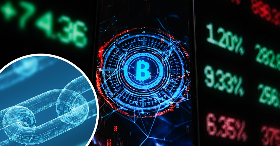 Three diagonal digital chains on a blue background and image of a bitcoin on a markets background.