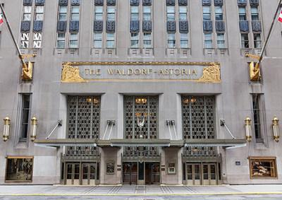 Exterior view of the Waldorf Astoria Hotel in New York