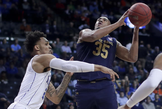 "Notre Dame forward <a class=""link rapid-noclick-resp"" href=""/ncaab/players/126186/"" data-ylk=""slk:Bonzie Colson"">Bonzie Colson</a> returned from injury two weeks ago. (AP Photo/Julie Jacobson)"