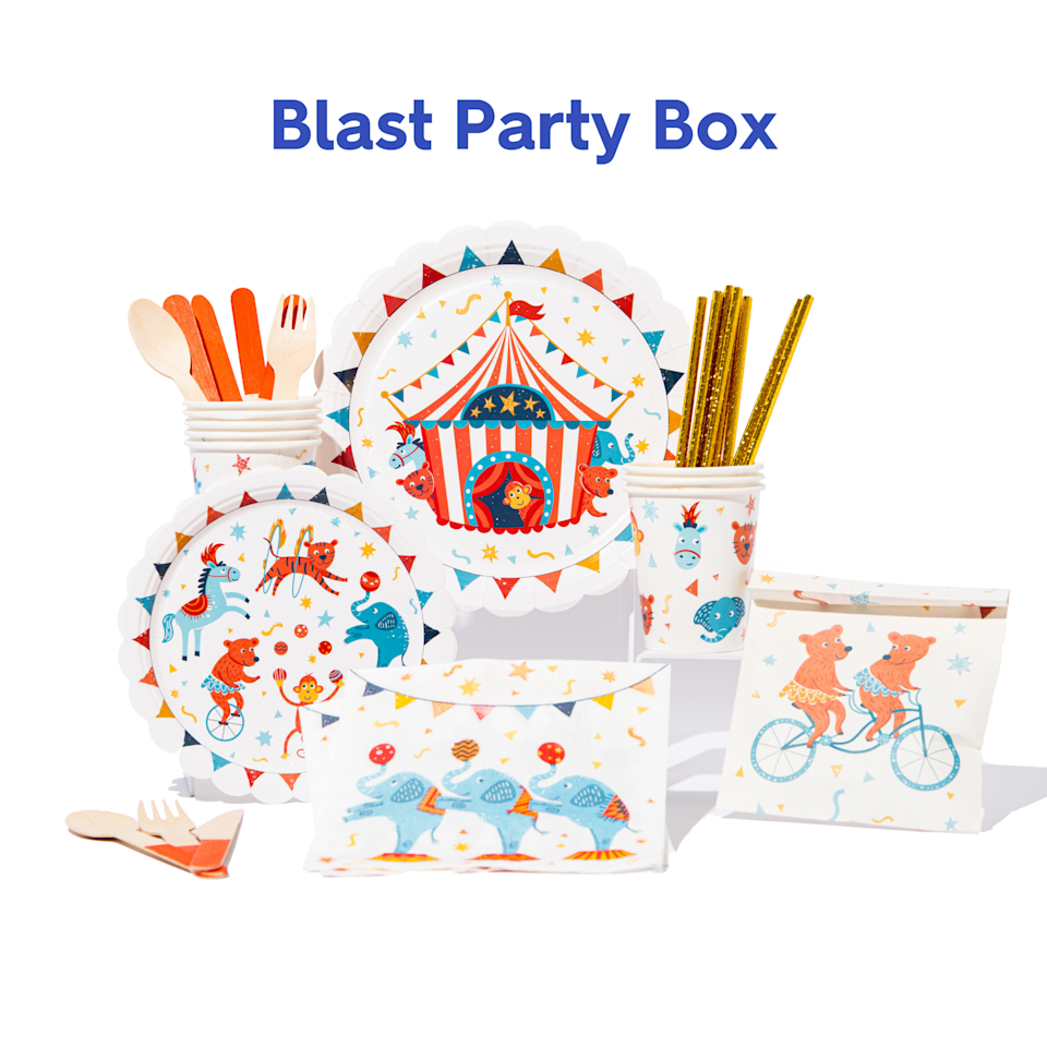 """<p>partydash.com</p><p><strong>$33.24</strong></p><p><a href=""""https://partydash.com/collections/party-boxes/products/greatest-show-on-earth-party-box"""" rel=""""nofollow noopener"""" target=""""_blank"""" data-ylk=""""slk:Shop Now"""" class=""""link rapid-noclick-resp"""">Shop Now</a></p><p>With a new baby soon-to-be on the scene, life's bound to become a little bit of a circus. So why not lean all the way into the madness and honor the ups and downs of impending parenthood with a festive circus or carnival-themed baby shower? <a href=""""https://partydash.com"""" rel=""""nofollow noopener"""" target=""""_blank"""" data-ylk=""""slk:Partydash"""" class=""""link rapid-noclick-resp"""">Partydash</a> boxes offer eco-friendly supplies, like biodegradable straws and wooden cutlery, all in one package.</p>"""