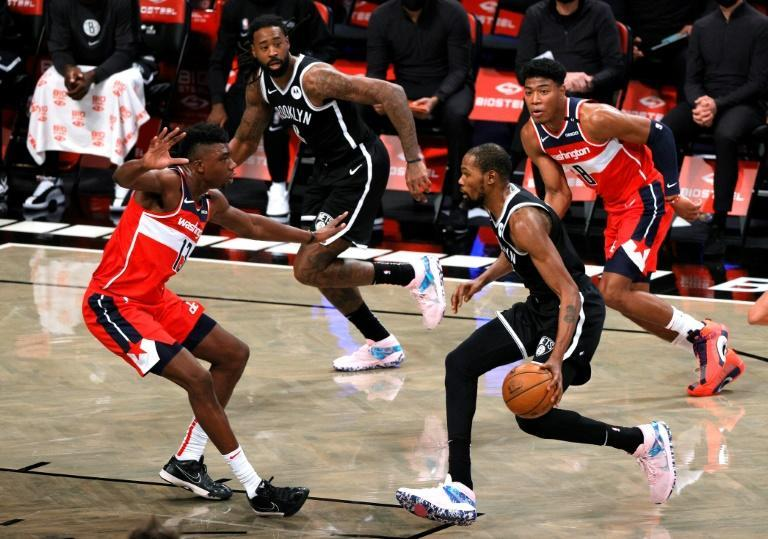 Forward Kevin Durant in NBA pre-season action for the Brooklyn Nets against the Washington Wizards