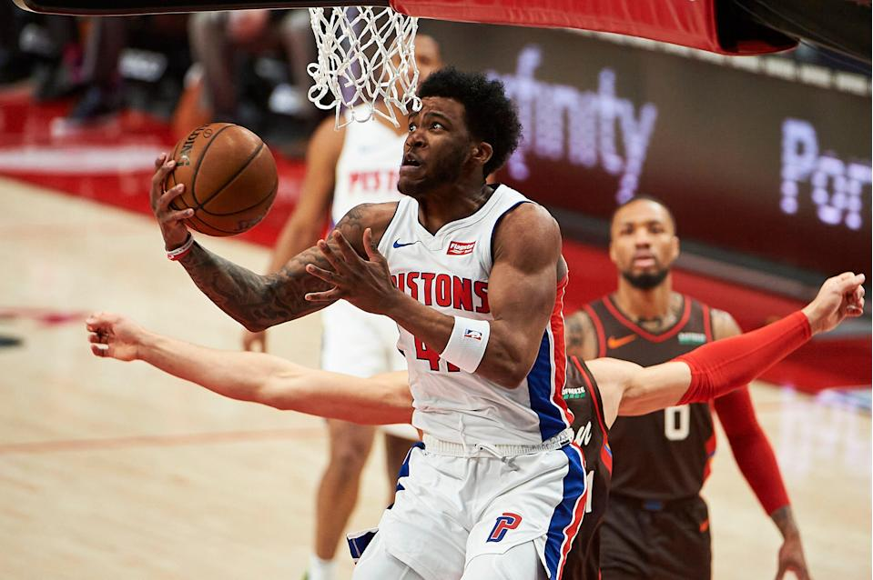 Detroit Pistons forward Saddiq Bey (41) scores a basket against the Portland Trail Blazers during the first half April 10, 2021 at Moda Center.