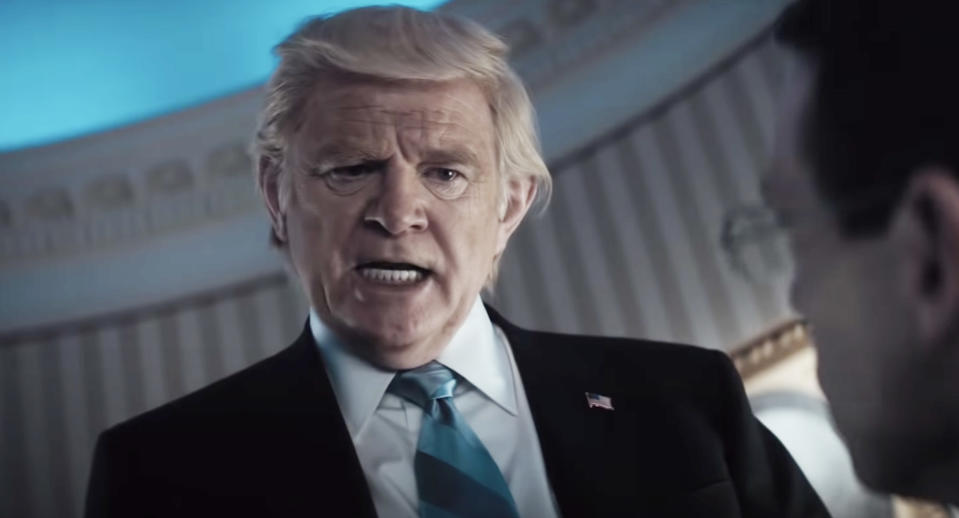 Brendan Gleeson as Donald Trump in 'The Comey Rule'. (Showtime)