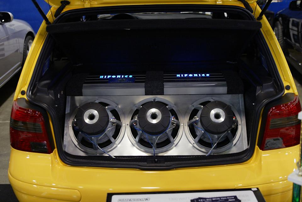 Huge car speakers inside a boot. Source: Getty Images