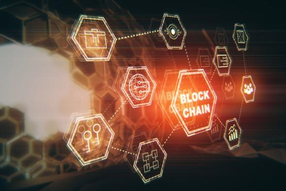 Image of technology icons attached to the word blockchain
