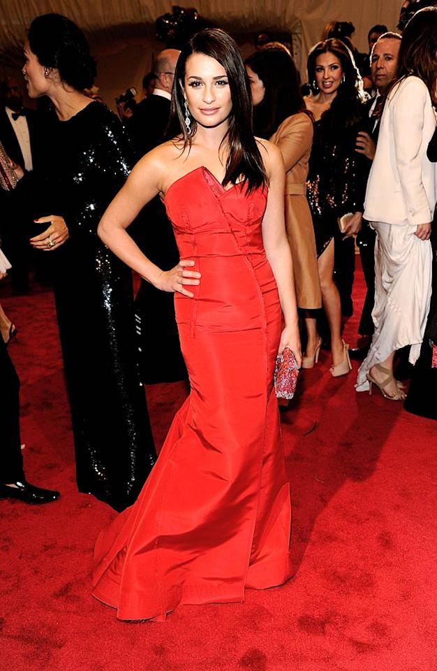 """""""Glee's"""" Lea Michele was red hot in a crimson strapless gown by Escada. Kevin Mazur/<a href=""""http://www.wireimage.com"""" target=""""new"""">WireImage.com</a> - May 2, 2011"""