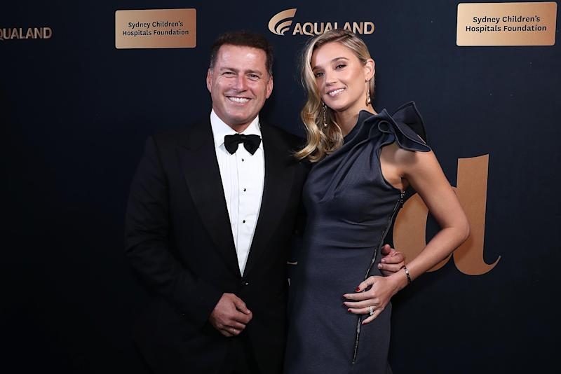 Karl Stefanovic and Jasmine Yarbrough attend the annual Gold Dinner at Fox Studios on May 30, 2019 in Sydney, Australia.
