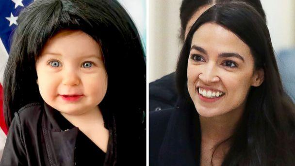 PHOTO: Liberty Wexler, 10 months, is dressed as Rep. Alexandria Ocasio-Cortez, pictured in Washington on the right, for Women's History Month in March 2019. (@photographyofliberty | Getty Images)