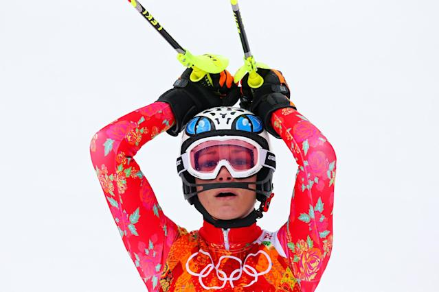 SOCHI, RUSSIA - FEBRUARY 10: Maria Hoefl-Riesch of Germany reacts during the Alpine Skiing Women's Super Combined Slalom on day 3 of the Sochi 2014 Winter Olympics at Rosa Khutor Alpine Center on February 10, 2014 in Sochi, Russia. (Photo by Alexander Hassenstein/Getty Images)