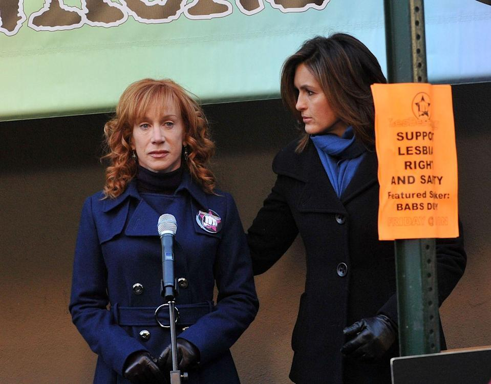 <p>In season 11, Griffin took a little break from comedy to play Babs Duffy, the leader of lesbian rights group, LesBeStrong. Duffy accuses the SVU team of neglecting crimes against the lesbian community due to homophobia, before her own sexuality is outed. </p>