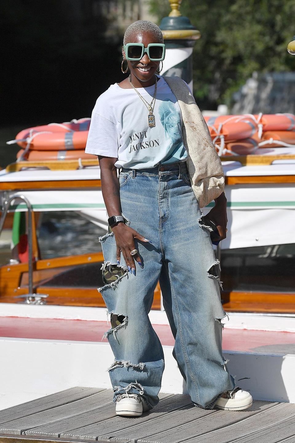 <p>Cynthia Erivo wore an oversized pair of sunnies and baggy jeans upon her arrival to the 2021 Venice International Film Festival on Sept. 2. </p>