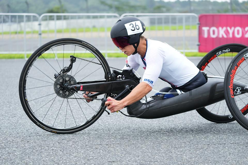 TOKYO, JAPAN - AUGUST 31:Oksana Masters of Team United States competes during Cycling Road Women's H4-5 Time Trial on day 7 of the Tokyo 2020 Paralympic Games at Fuji International Speedway on August 31, 2021 in Tokyo, Japan. (Photo by Moto Yoshimura/Getty Images)