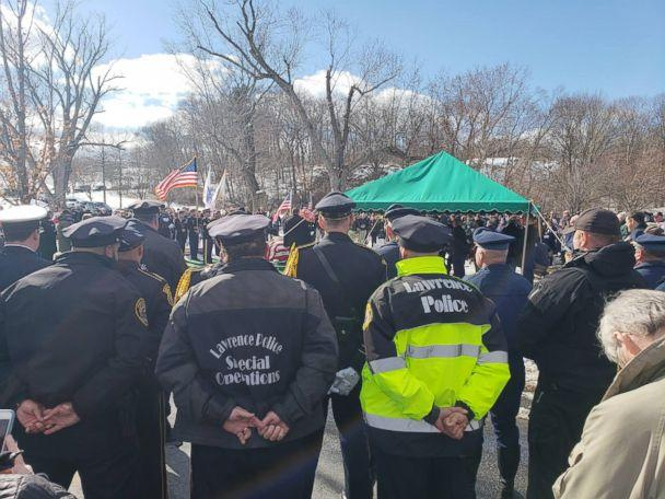 PHOTO: The Lawrence Police Department take part in the funeral services for World War II Veteran James McCue buried in the Veterans Section of Bellevue Cemetery in Lawrence, Mass., Feb. 14, 2019. (The Lawrence Police Department)
