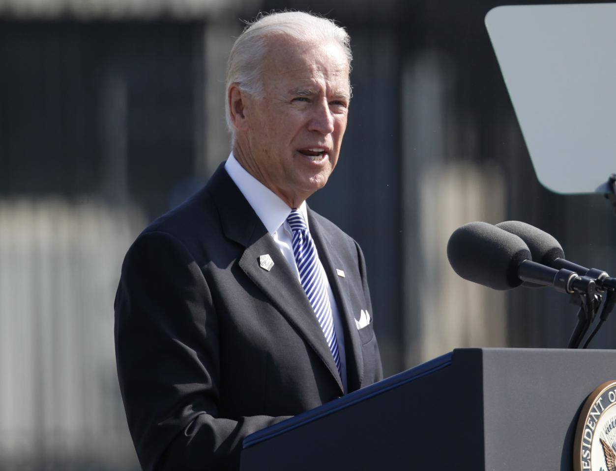 Vice President Joe Biden speaks during the ceremony marking the 10th anniversary of the September 11 attacks at the Pentagon in Washington, Sunday, Sept. 11, 2011. (AP Photo/Charles Dharapak)