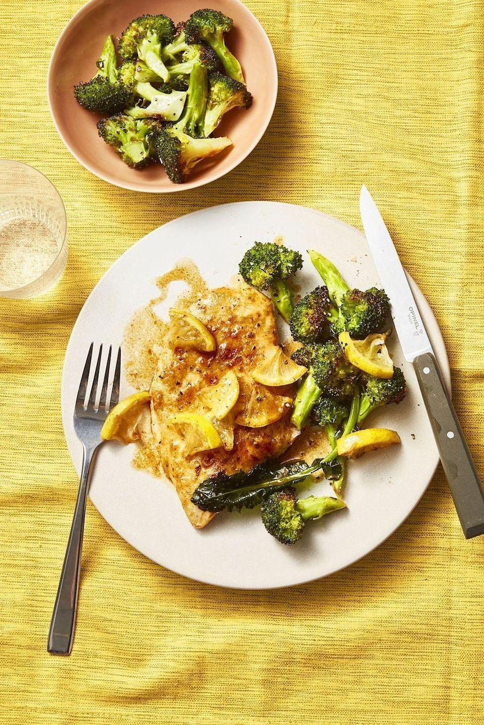 """<p>There's a good chance you already have all the ingredients you need for this easy weeknight dinner.</p><p><em><a href=""""https://www.goodhousekeeping.com/food-recipes/healthy/a28650977/pan-fried-chicken-roasted-broccoli-recipe/"""" rel=""""nofollow noopener"""" target=""""_blank"""" data-ylk=""""slk:Get the recipe for Pan-Fried Chicken with Lemony Roasted Broccoli »"""" class=""""link rapid-noclick-resp"""">Get the recipe for Pan-Fried Chicken with Lemony Roasted Broccoli »</a></em></p>"""