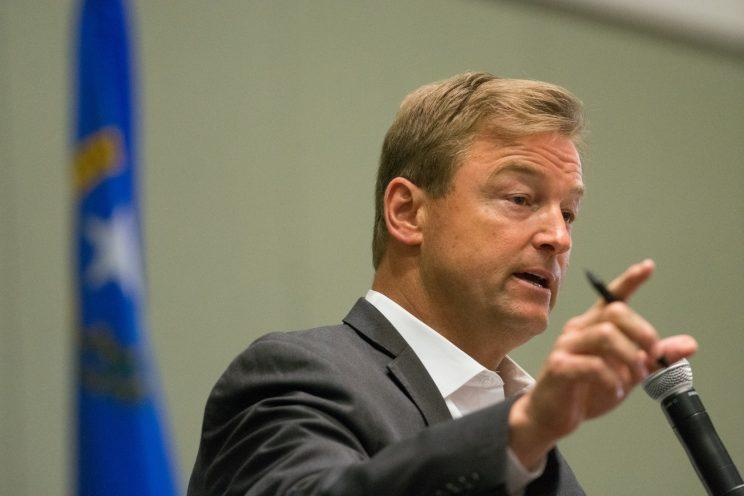Sen. Dean Heller, R-Nev., at a town hall in Reno in April. (Photo: David Calvert/Getty Images)