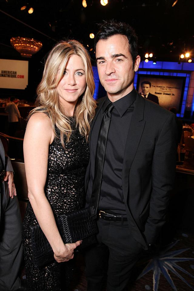 """<a href=""""http://movies.yahoo.com/movie/contributor/1800021397"""">Jennifer Aniston</a> and <a href=""""http://movies.yahoo.com/movie/contributor/1800279742"""">Justin Theroux</a> attend the 25th American Cinematheque Award in Beverly Hills on October 14, 2011."""