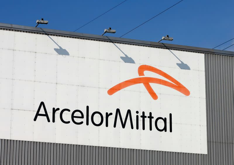 The logo of steel factory ArcelorMittal is pictured in Seraing