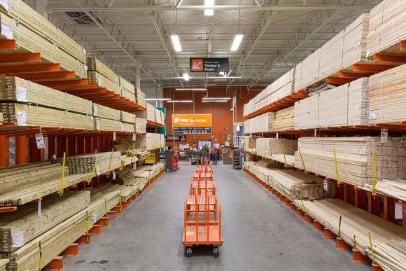 The lumber aisle at Home Depot