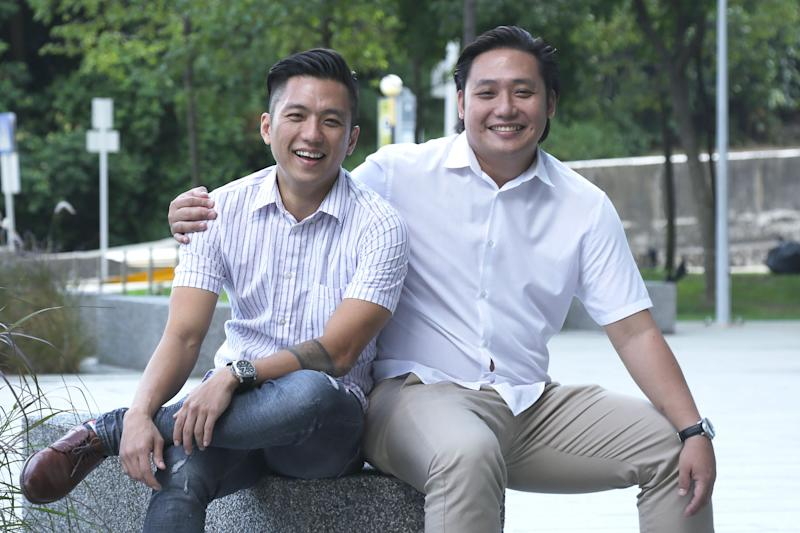 Lin Hanwei, 36, (left) and younger brother Lin Dilun, 34, on 11 July, 2019. (PHOTO: Dhany Osman/Yahoo News Singapore)