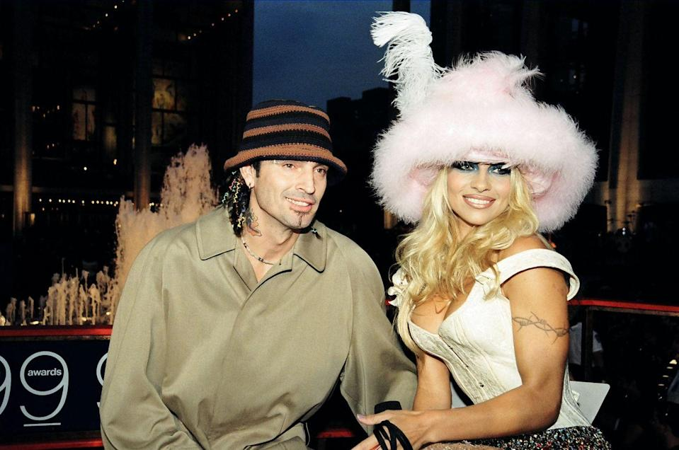 "<p>The <em>Baywatch </em>babe and Mötley Crüe drummer rocked the world when their private frolicking became one of the internet's first viral sex videos in 1997. The couple shot the tape in 1995 and <a href=""http://www.rollingstone.com/culture/features/pam-and-tommy-the-untold-story-of-the-worlds-most-infamous-sex-tape-20141222"" rel=""nofollow noopener"" target=""_blank"" data-ylk=""slk:locked it up"" class=""link rapid-noclick-resp"">locked it up</a> in their safe, but that safe was soon stolen by an electrician working on their home. Porn was big money in the '90s—the <a href=""http://www.rollingstone.com/culture/features/pam-and-tommy-the-untold-story-of-the-worlds-most-infamous-sex-tape-20141222"" rel=""nofollow noopener"" target=""_blank"" data-ylk=""slk:tape made"" class=""link rapid-noclick-resp"">tape made</a> an estimated $77 million in the first year alone. That means, yeah, just about everybody saw it—everybody that is, except Anderson, who <a href=""http://www.usmagazine.com/celebrity-news/news/pam-anderson-has-never-seen-her-sex-tape-talks-tommy-lees-jealousy-2015259"" rel=""nofollow noopener"" target=""_blank"" data-ylk=""slk:revealed in 2015"" class=""link rapid-noclick-resp"">revealed in 2015</a> that she's still never watched the infamous video that foreshadowed many celebrity sex tapes to come.</p>"