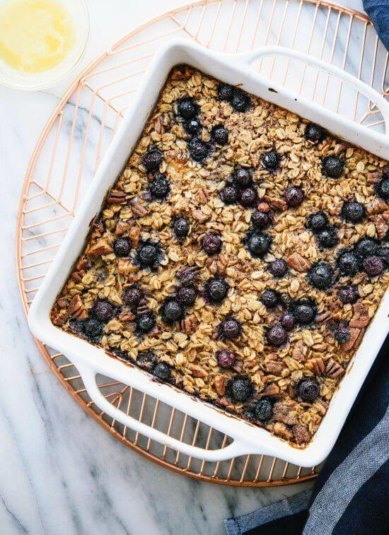"""<p>This oatmeal bake is basically breakfast cake. Use nut milk and a flax egg to make it vegan.<br></p><p><a class=""""body-btn-link"""" href=""""https://cookieandkate.com/baked-oatmeal-recipe/"""" target=""""_blank"""">GET THE RECIPE</a></p><p><em>Per serving: 443 calories, 16 g fat (4 g saturated), 68 g carbs, 10 g sugar, 279 mg sodium, 10 g fiber, 9 g protein</em></p>"""