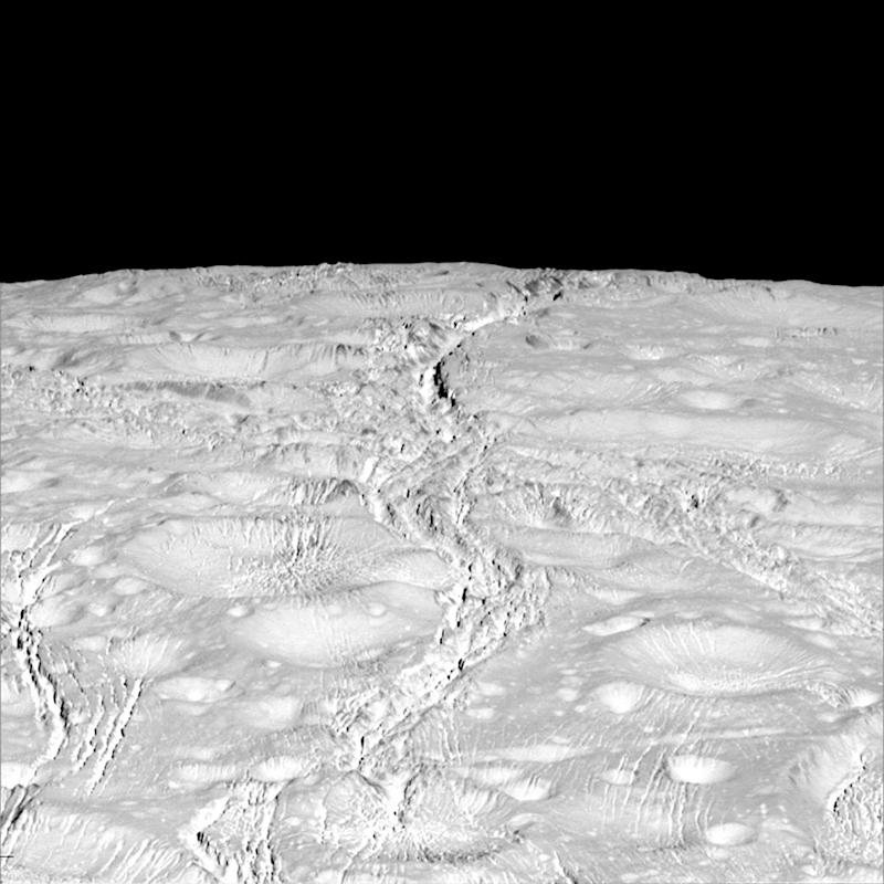The north pole of Saturn's icy moon Enceladus is seen in an image from NASA's Cassini spacecraft taken October 14, 2015. - Credit: Nasa/Reuters
