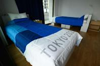 Beds and partition walls in the Olympic Village are made from sturdy recyclable cardboard