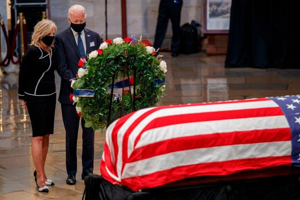 <p>Former Vice President and current presumptive Democratic presidential nominee Joe Biden and his wife, Dr. Jill Biden, paid their respects at the memorial service. President Donald Trump did not attend the event. </p>