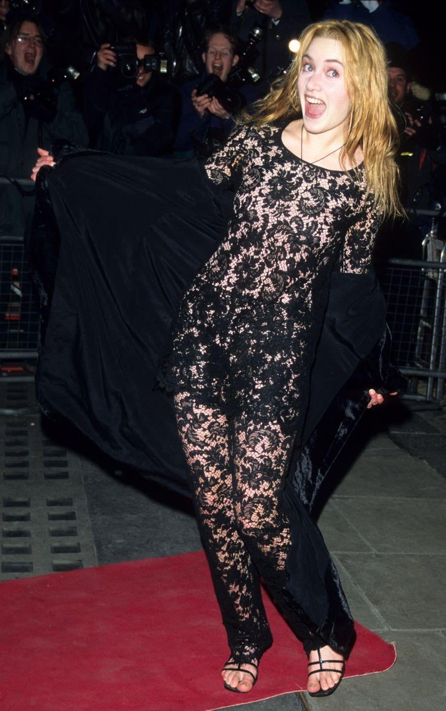 <p>The British actress arrived at the premiere of her first major film, <em>Sense and Sensibility,</em> in a daringly sheer lace jumpsuit. She was nominated for a Golden Globe Award for Best Supporting Actress for the role.</p>