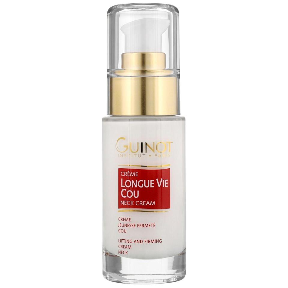"""<p><strong>Guinot</strong></p><p><a href=""""https://go.redirectingat.com?id=74968X1596630&url=https%3A%2F%2Fwww.dermstore.com%2Fproduct_Longue%2BVie%2BCou%2BFirming%2BVital%2BNeck%2BCare_9251.htm&sref=https%3A%2F%2Fwww.prevention.com%2Fbeauty%2Fg34777115%2Fdermstore-black-friday-sale-2020%2F"""" rel=""""nofollow noopener"""" target=""""_blank"""" data-ylk=""""slk:SHOP NOW"""" class=""""link rapid-noclick-resp"""">SHOP NOW</a></p><p><strong><del>$72</del> $58 (20% off)</strong></p><p>The skin on our necks is some of the most delicate on our bodies, but it's often overlooked. That's where Guinot Longue Vie Cou Firming Vital Neck Care comes in. This gentle yet effective firming cream helps to restore, hydrate, and smooth the neck. </p>"""