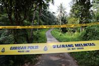 A police line is seen at an entrance to the Dusun Resort, where 15-year-old Irish girl Nora Anne Quoirin went missing in Seremban.
