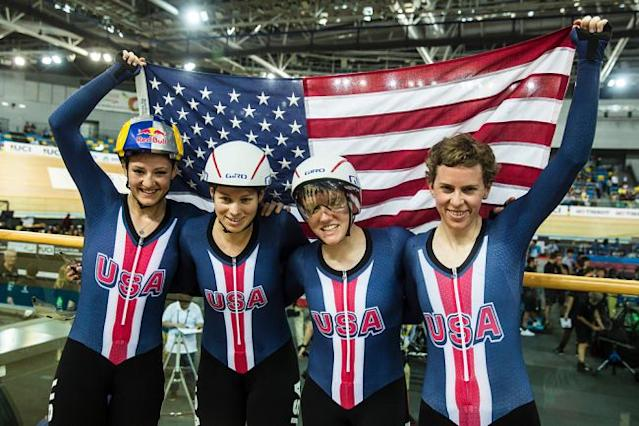 Team USA women's Team Pursuit squad win world title at 2017 Track World Championships