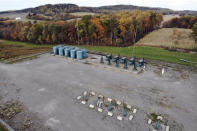 A photo taken from a drone shows a PennEnergy Resources LLC natural gas fracking well pad in Valencia, Pennsylvania, on Thursday, Oct. 15, 2020. President Trump accuses Joe Biden of wanting to ban fracking, a sensitive topic in the No. 2 natural gas state behind Texas. Biden insists he does not want to ban fracking broadly - he wants to ban it on federal lands and make electricity production fossil-fuel free by 2035. (AP Photo/Ted Shaffrey)