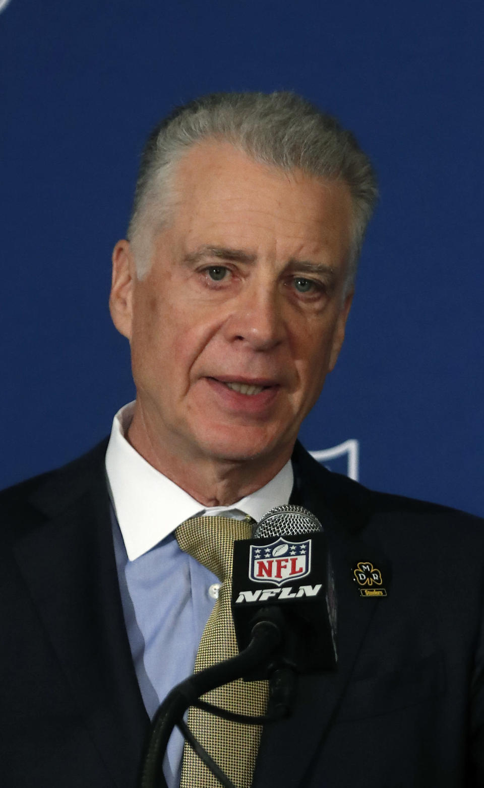 """Pittsburgh Steelers President Art Rooney II speaks to reporters after it was announced NFL team owners have reached agreement on a new league policy that requires players to stand for """"The Star-Spangled Banner"""" or remain in the locker room during the NFL owner's spring meeting Wednesday, May 23, 2018, in Atlanta. (AP Photo/John Bazemore)"""