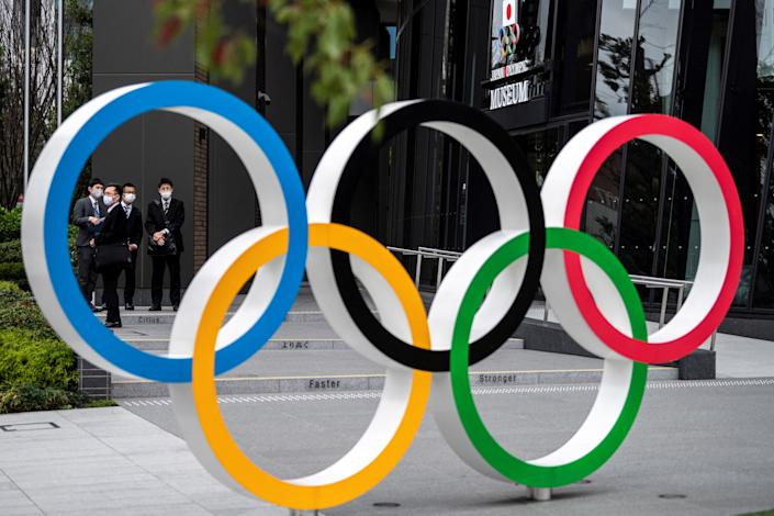 This picture shows the Olympic Rings outside the Japan Olympic Museum in Tokyo on March 22, 2021. (Photo by Charly TRIBALLEAU / AFP) (Photo by CHARLY TRIBALLEAU/AFP via Getty Images)
