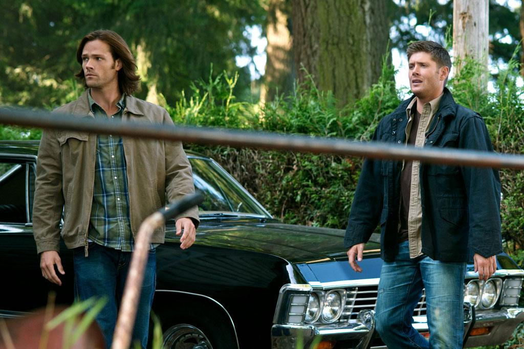 "Jared Padalecki as Sam and Jensen Ackles as Dean in the ""Supernatural"" Season 8 premiere, ""We Need To Talk About Kevin."""