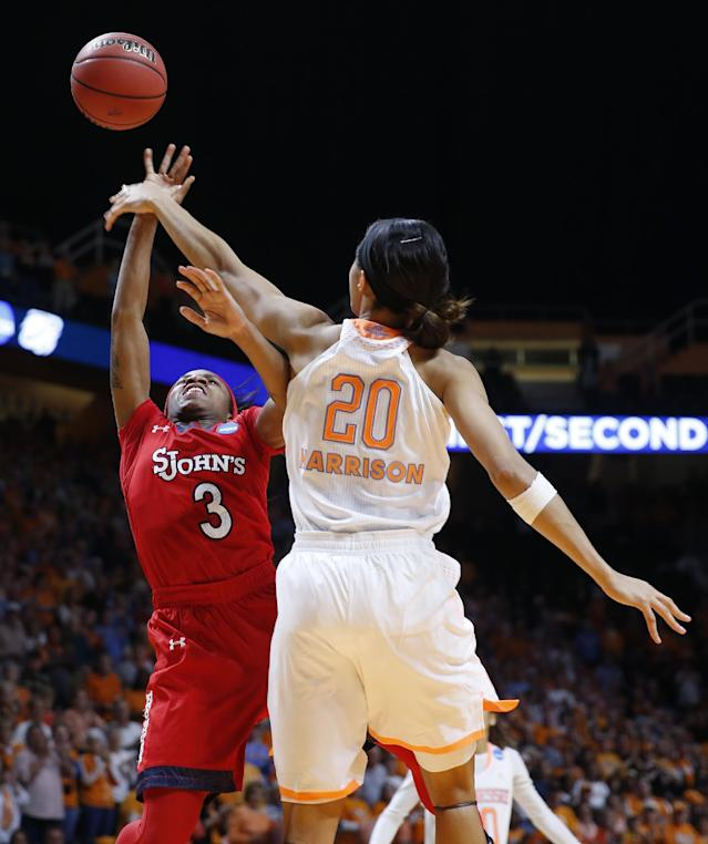 Tennessee center Isabelle Harrison (20) blocks a shot by St. John's guard Aliyyah Handford (3) in the second half of an NCAA women's college basketball second-round tournament game Monday, March 24, 2014, in Knoxville, Tenn. (AP Photo/John Bazemore)