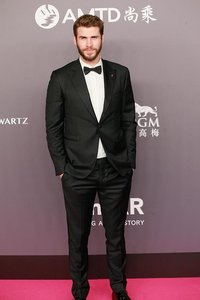 <p>Miley's man cleaned up quite nice for the 2018 amfAR gala in Hong Kong on Monday. (Photo by VCG/VCG via Getty Images) </p>