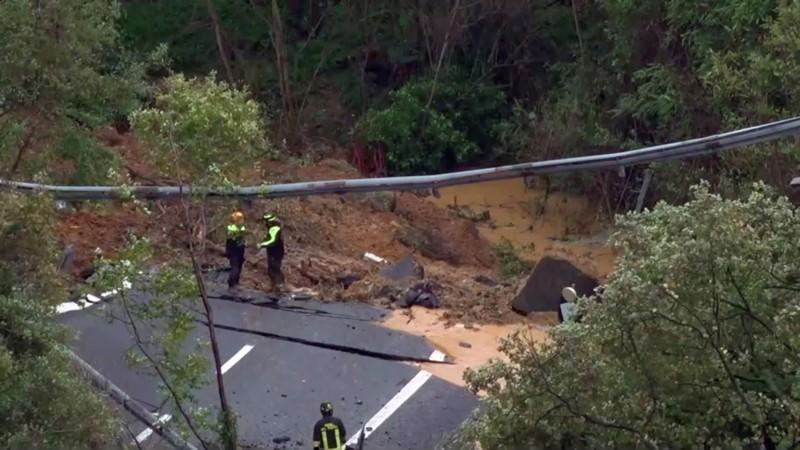 View of portion of a motorway bridge linking Savona to Turin collapsed after a landslide in Savona