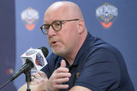 David Griffin, New Orleans Pelicans executive vice president of Basketball Operations, speaks during the NBA basketball team's Media Day in New Orleans, Monday, Sept. 27, 2021. (AP Photo/Matthew Hinton)