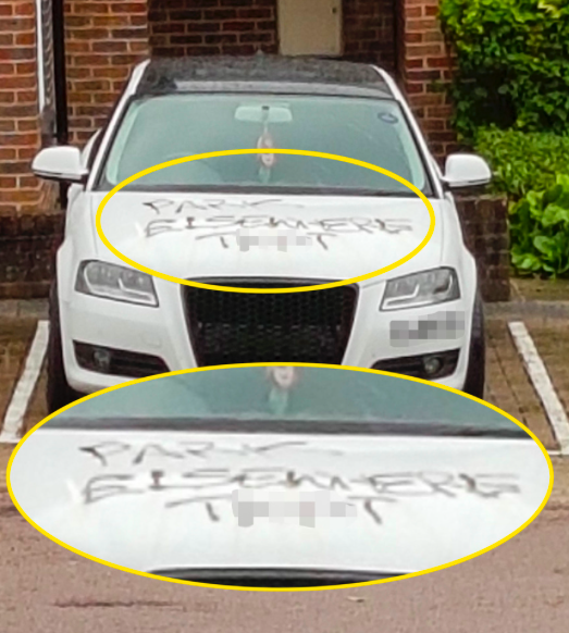 <em>The car had been scrawled over in black ink (Caters)</em>