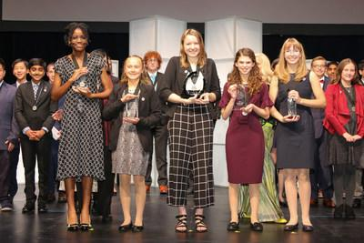 Congratulations to Broadcom MASTERS top winners (from left to right) Lauren Ejiaga, Sidor Clare, Alaina Gassler, Rachel Bergey and Alexis MacAvoy. Photo Credit: Linda Doane/Society for Science & the Public