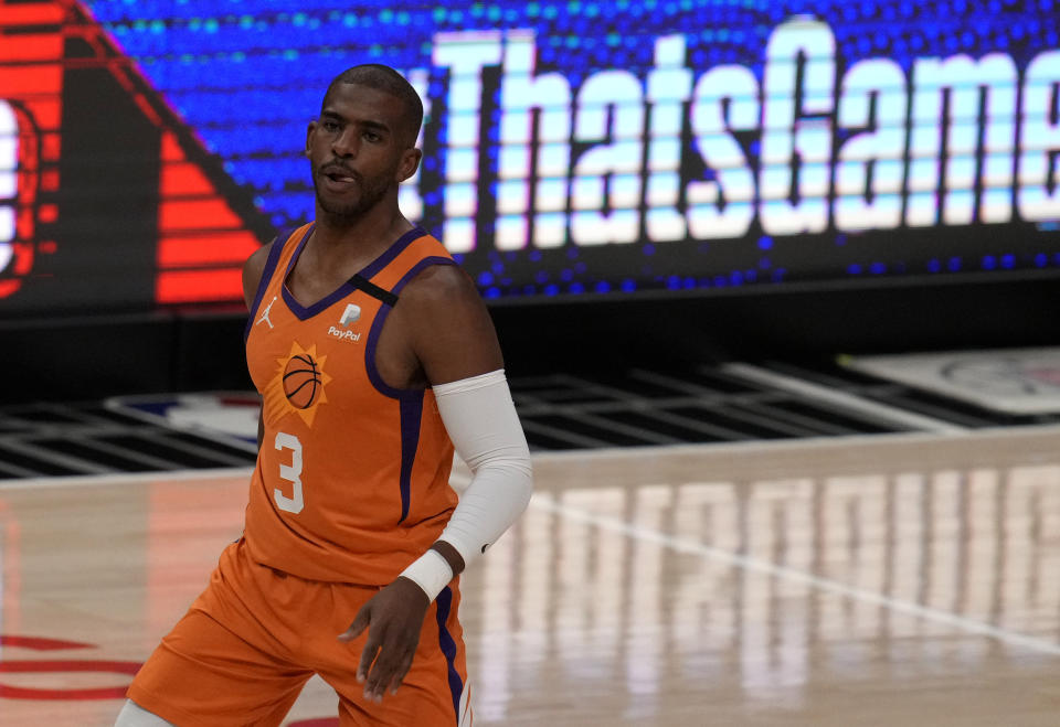 Los Angeles, CA - June 30:  Chris Paul #3 of the Phoenix Suns reacts after scoring against the LA Clippers in the first half of game six of a Western Conference finals NBA playoff basketball game at the Staples Center in Los Angeles on Wednesday, June 30, 2021. (Photo by Keith Birmingham/MediaNews Group/Pasadena Star-News via Getty Images)