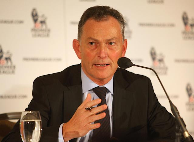 LONDON - FEBRUARY 06: Richard Scudamore the Chief Executive of the Premier League talks to the press at a press conference to talk about Premier League broadcasting rights at the Hyatt Regency Hotel on February 6, 2009 in London, England. (Photo by Tom Shaw/Getty Images)